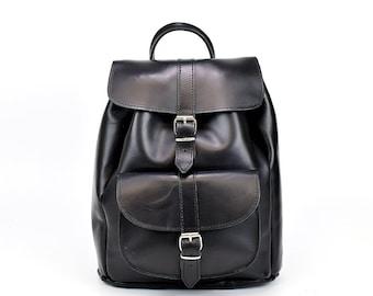 Black leather backpack, Greek leather bag, Black leather rucksack, Women bag, Greek leather bag, Handmade bag, Unisex leather bag