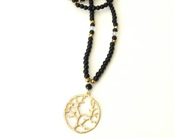 Long black beaded necklace with tree of life pendant, Black necklace, Bohemian black necklace, Layering jewelry, Gift for her