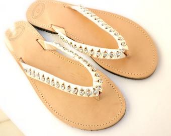 Wedding flip flops sandals- Greek leather sandals - Rhinestones crystal and satin ribbon Summer sandals- Bridal decorated leather sandals