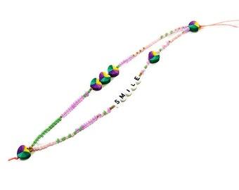 Purple green phone strap, Heart phone wrist strap, Phone beaded bracelet, Phone jewelry, Beaded purple phone string, Gift for her