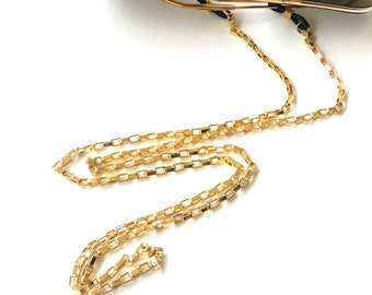 Sunglasses gold chain Unisex box eyeglass holder Gold steel box chain Sunglasses gold necklace Eyewear for men