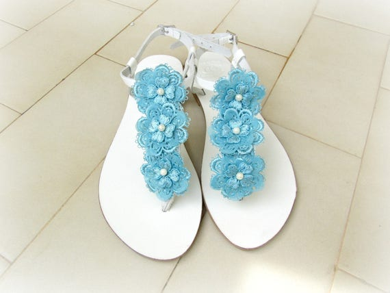 Wedding Sandals White Sandals With Blue Lace Flowers Etsy