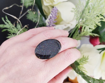 Black oval ring, Black glitter ring, Oval ring, Large adjustable ring, Stackable silver ring, Summer ring, Handmade ring, Birthday gift ring