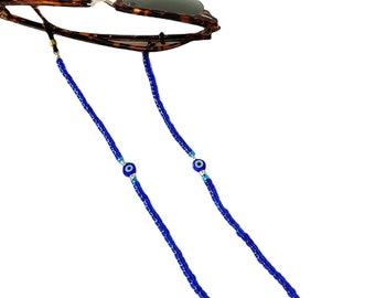 Blue beaded glasses chain with evil eye, Sunglasses chain, Beaded blue glasses lanyard, Sunglass Chain, Reading Glass Chain, Gift For Her