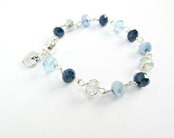 Blue beaded bracelet - Rosary chain bracelet with heart - Summer bracelet - Everyday bracelet - Gift for her - Something blue