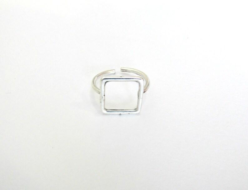 be070877fb3c3e Anello quadrato argento placcato anello anello geometrico | Etsy