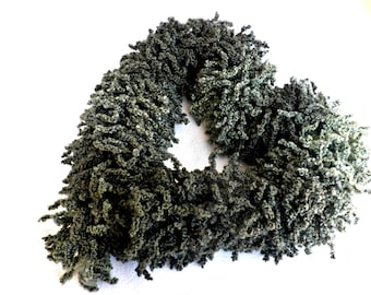 Green frilly scarf, Neckwarmer, Knitting curles scarf, Winter scraft, Green knitted scarf, Gift for her, Winter accessories