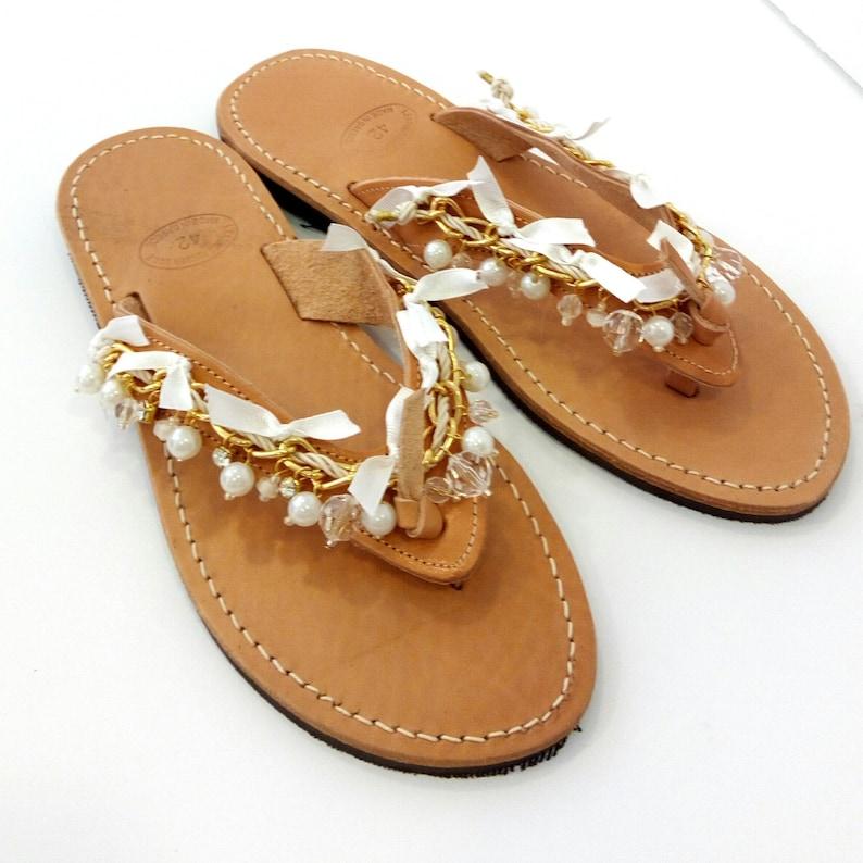 d8b1b4531c6c Wedding sandals Boho chic leather flip flops Gold chain