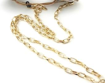 Gold sunglasses chain, Eyeglasses holder, Gold chain sunglasses necklace, Laces for sunglasses, Reading glasses cord, Gift for her