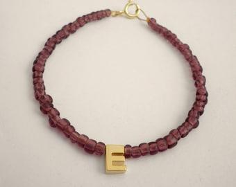 Tiny gold letter bracelet - Personalized bracelet -Monogram bracelet- Initial friendship bracelet-Name bracelet - Purple  bracelet