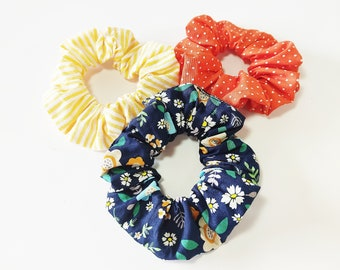 Floral blue scrunchies, Hair ties accessories, Yellow scrunchies, Handmade scrunchies, Orange polka dots scrunchies, Hair accessories