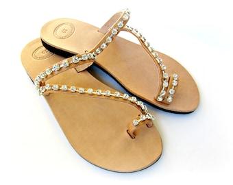 Leather sandals- Rhinestone decorated- Wedding sandals -Bridesmaids sandals -Greek leather toe ring sandals -Summer Women 's leather sandals