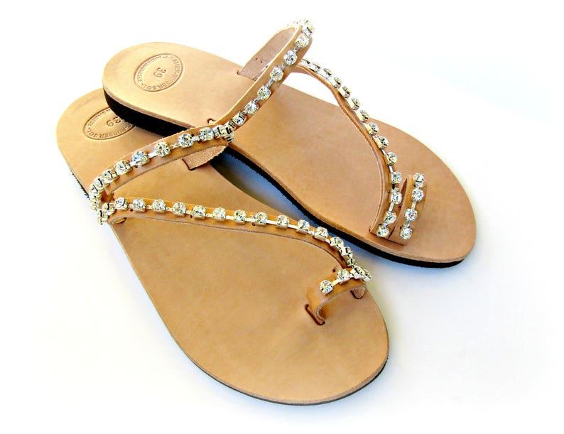 534ac3fec2fd Leather sandals Rhinestone decorated Wedding sandals