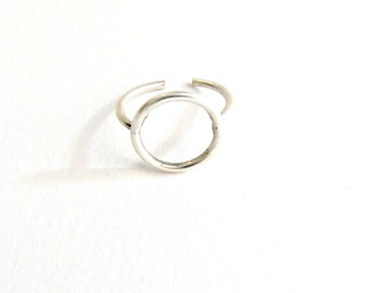 Circle silver ring, Stackable Ring, Geometric Ring, Minimalist jewelry, Adjustable ring, Circle silver ring, Stacking Ring, Gift for her
