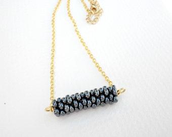 Black beaded necklace - Minimalist black necklace-Bar beaded necklace - Gold chain -Geometric necklace-Tube beaded bar and layering necklace