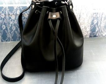 Black leather bag, Greek leather bag, Leather black handbag, Crossbody bag, Shoulder leather bag, Made in Greece, Gift for her
