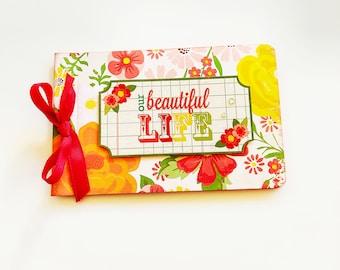 Retro mini photo album, Handmade mini album, Floral mini album, Orange polka dots album, Memories mini album, Mother's day gift
