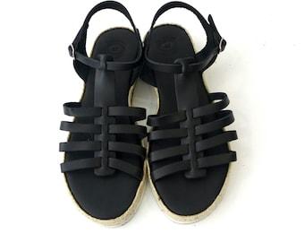 Black sandals, Greek leather sandals, Εspadrille platform sandals, Everyday women black shoes, Gladiator leather sandals, Comfortable shoes