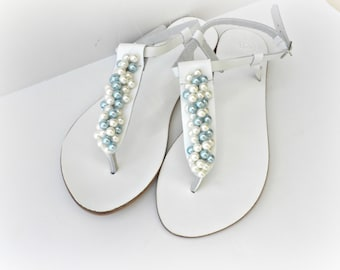 Wedding leather sandals, White sandals decorated with mix ivory blue pearls, Pearls sandals, Bridal shoes, Bridesmaid flats,Summer shoes