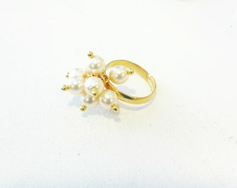 Adjustable pearl ring, Wedding ring, Pearls gold ring, Ring with pearls, Statement pearl ring, Minimalist jewelry, Gold ring with pearls