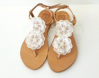 Wedding sandals, Greek leather sandals, Bridal party sandals, Decorated sandals, White flowers sandals, Beach wedding flats, Summer shoes
