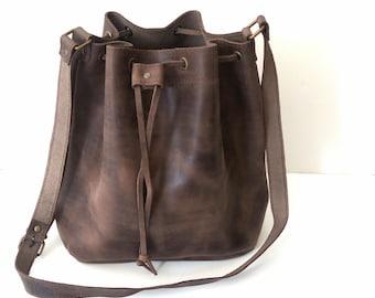 Brown bucket leather bag, Greek bucket bag, Leather bucket bag, Greek leather bag, Crossbody bag, Brown bucket bag, Womens bag, Everyday bag