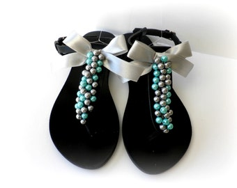 Black leather sandals decorated with mix silver turquoise pearls and silver satin bow, Pearls sandals, Beach party shoes, Summer shoes,