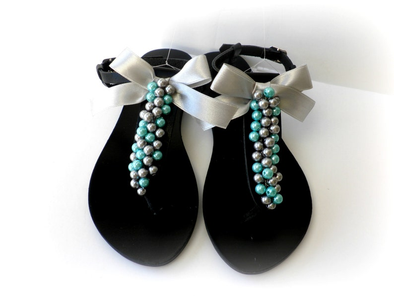 e0ede96faa6 Black leather sandals decorated with mix silver turquoise