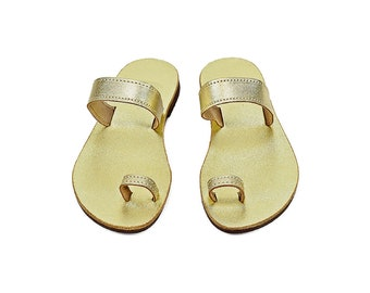 Gold toe ring leather sandals, Ancient Greek sandals, Bridal gold leather sandals, Summer women shoes, Wedding sandals, Beach party shoes