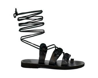 Black leather gladiator sandals, Black lace up sandals, Greek leather sandals,Summer women shoes, Beach shoes, Boho chic sandals