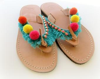 Pompom sandals, Boho greek sandals,Yellow pink orange hippie sandals, Turquoise fringe decorated sandals, Beach hippie sandals, Summer shoes