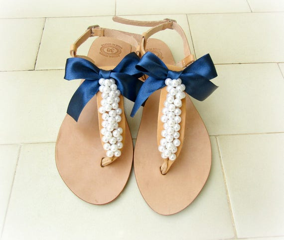 ade09f9d8d4c Wedding sandals   Decorated sandals with white pearls and blue