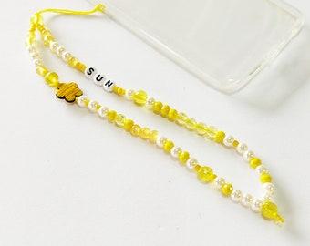 Yellow phone strap, Phone beaded bracelet, Phone jewelry, Beaded yellow phone string,