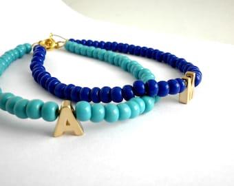 Monogram beaded bracelet -Turquoise bracelet -Tiny gold letter bracelet -Royal  Blue beaded personalized bracelet -Minimalist jewelry -