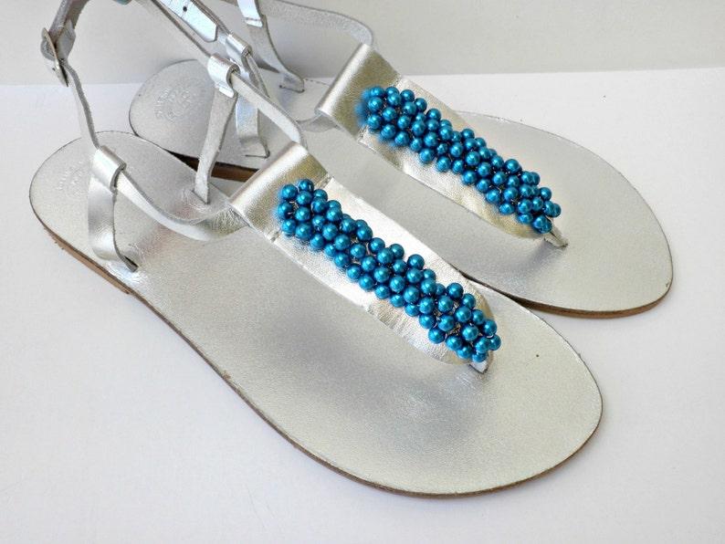 fed45c64f5619b Silver shoes Wedding sandals Blue pearls silver flats Greek