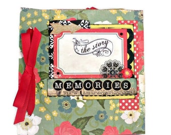 Retro mini album, Green photo album, Square 6x6 Scrapbooking album, Premade handmade photo album, Floral Memories album, Mothers day gift