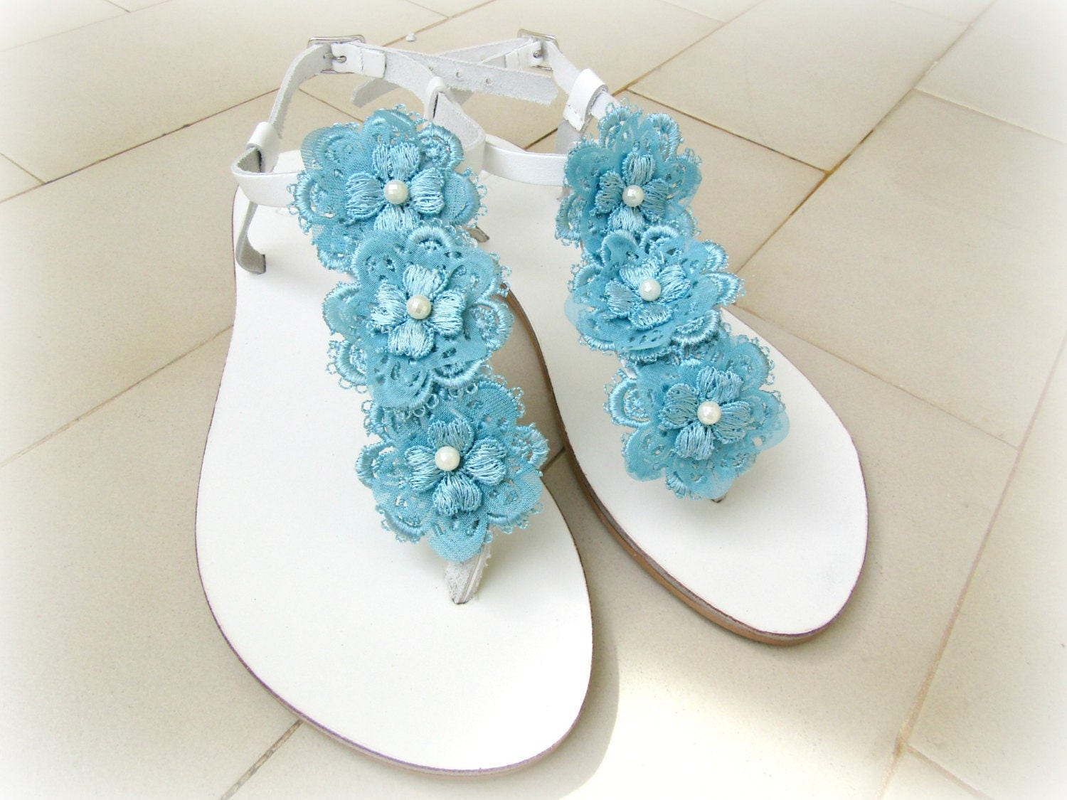 bf7794190 Wedding sandals -White sandals with Blue lace flowers - Something blue -  Bridal party - Greek leather sandals - Beach wedding - Summer shoes