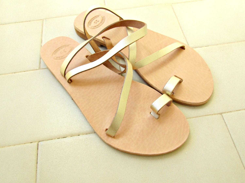 e62c24500e07 Golden greek sandals