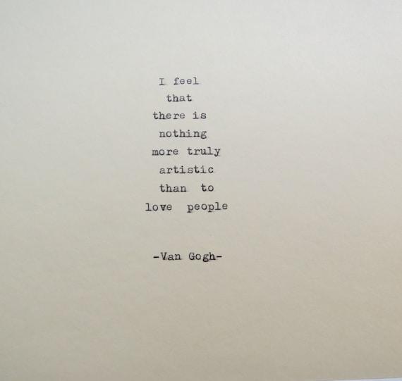 Vincent Van Gogh Typewriter Quote Typewriter Quote Etsy