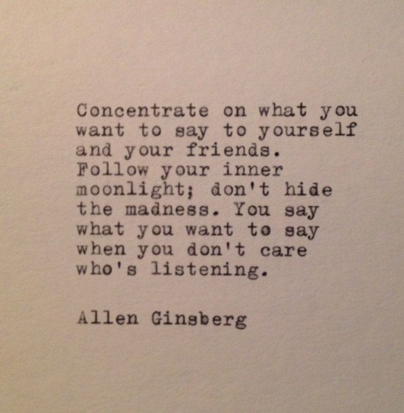 Allen Ginsberg Quote Typed on Typewriter image 0