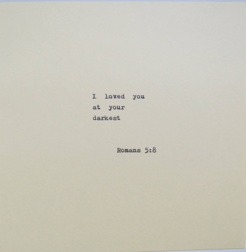 Romans 5:8 Love Quote Typed On Typewriter image 0