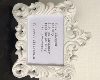 F. Scott Fitzgerald Framed Love Quote Made On Typewriter, typewriter quote