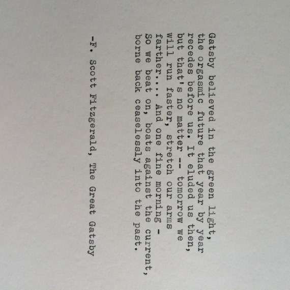 F Scott Fitzgerald Great Gatsby Quote Hand Typed On Etsy