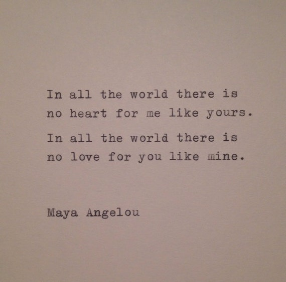 Maya Angelou Love Quotes Classy Maya Angelou Love Quote Hand Typed On Typewriter Etsy
