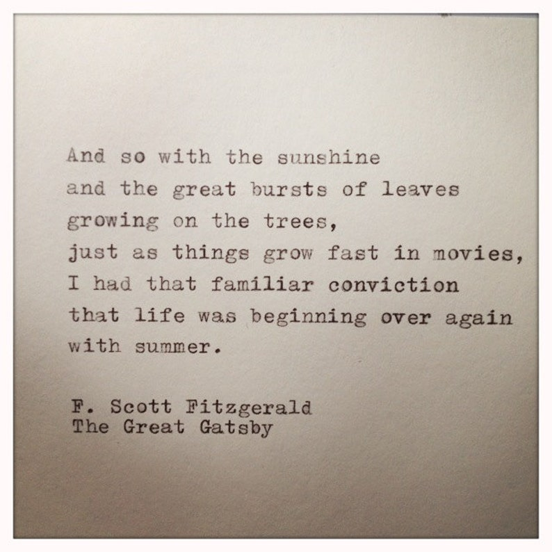 The Great Gatsby Quote Typed On Typewriter Etsy