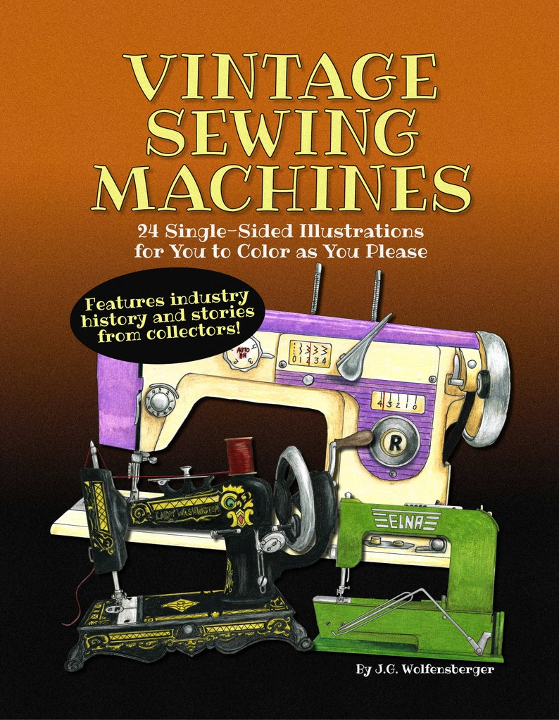 Vintage Sewing Machines Coloring Book image 0
