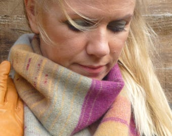 Sunset, handcrafted lambswool stripe pattern scarf, mandarin, orchard, empire & oatmeal