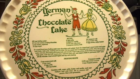 German chocolate cake recipe plate 1983 royal china co