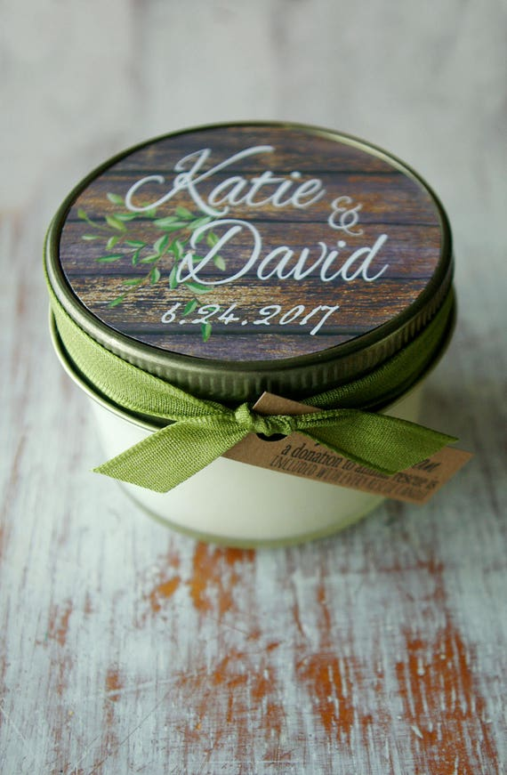 Set Of 12 4 Oz Soy Candles Personalized Wedding Favors Etsy
