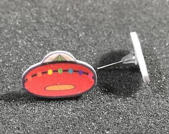 Stud Earrings - Space Ship - Inspired by Kesha